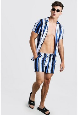 Mens Blue Wide Stripe Revere Shirt & Swim Set