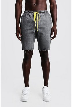 Mens Grey Relaxed Fit Denim Shorts With Elasticated Waist