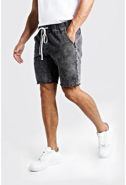 Black Relaxed Fit Denim Shorts With Elasticated Waist