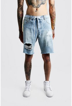 Herr Light blue Relaxed Fit Distressed Side Print Denim Shorts