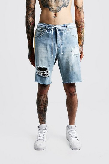 Mens Light blue Relaxed Fit Distressed Side Print Denim Shorts