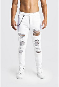 Mens White Skinny Fit Jeans With Heavy Distressing