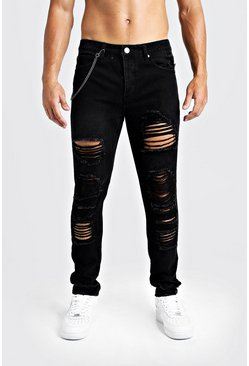 Mens Black Skinny Fit Jeans With Heavy Distressing