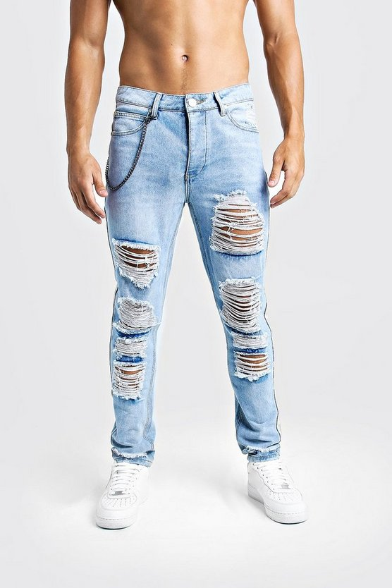 Light blue Skinny Fit Jeans With Heavy Distressing