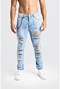 Mens Light blue Skinny Fit Jeans With Heavy Distressing