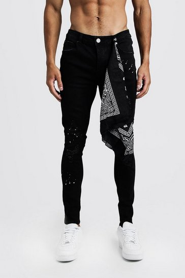 Black Super Skinny Jeans With Bandana Repair