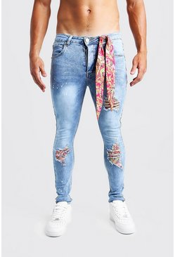 Mid blue Super Skinny Jeans With Bandana Repair