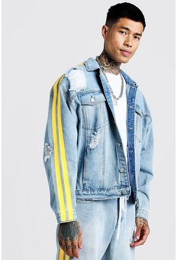 Mens Light blue Oversized Distressed Denim Jacket With Side Print