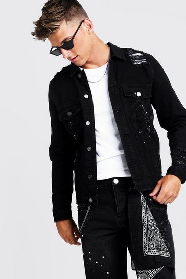 Mens Black Denim Jacket With Bandana Repair