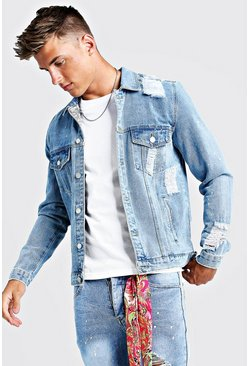 Mens Mid blue Denim Jacket With Bandana Repair