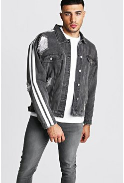 Mens Grey Oversized Denim Jacket With Painted Side Stripe