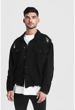 Oversized-Jeansjacke in extremer Used-Optik, Schwarz, Herren