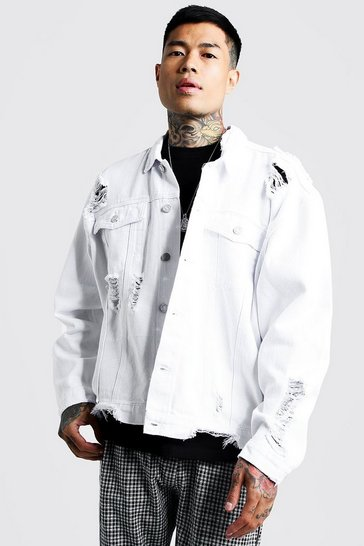 Mens White Oversized Denim Jacket With Heavy Distressing
