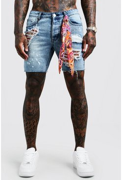 Mens Mid blue Relaxed Fit Denim Shorts With Bandana Repair