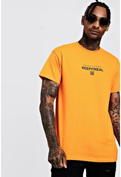 Mens Neon-orange Neon Keep It Real Print Tee