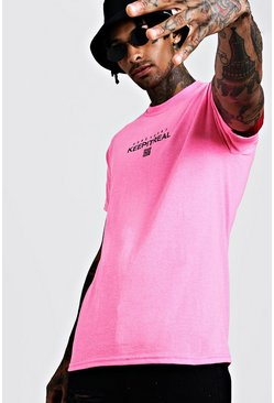Mens Neon-pink Neon Keep It Real Print Tee