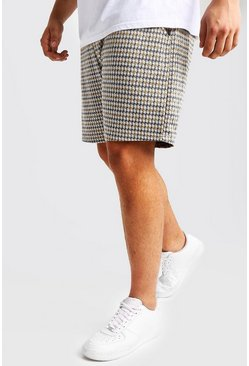 Grey Big & Tall Jacquard Tape Detail Mid Length Short