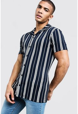 Mens Navy Jacquard Stripe Muscle Fit Revere Shirt