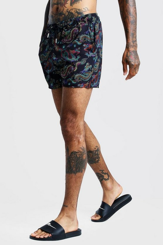 Mens Black Dragon Print Drawstring Short