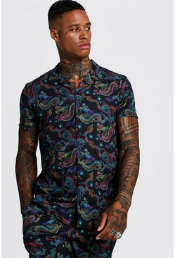 Mens Black Dragon Print Short Sleeve Revere Shirt
