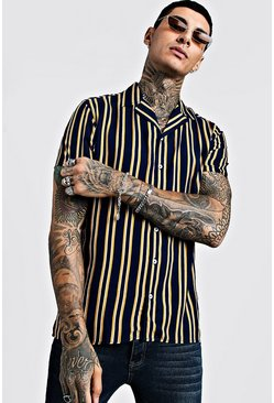 Mens Navy Vertical Stripe Short Sleeve Revere Viscose Shirt