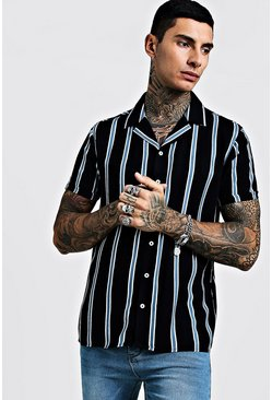 Mens Black Vertical Stripe Short Sleeve Revere Viscose Shirt