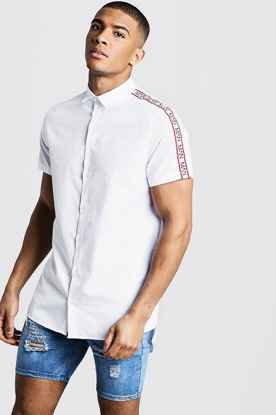Mens White MAN Sleeve Tape Short Sleeve Shirt