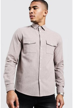 Mens Stone Brushed Flannel Long Sleeve Utility Shirt