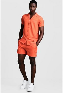 Mens Coral Smart Revere Shirt & Short Set