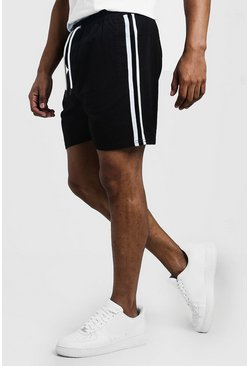 Mens Black Drawstring Chino Short With Side Tape