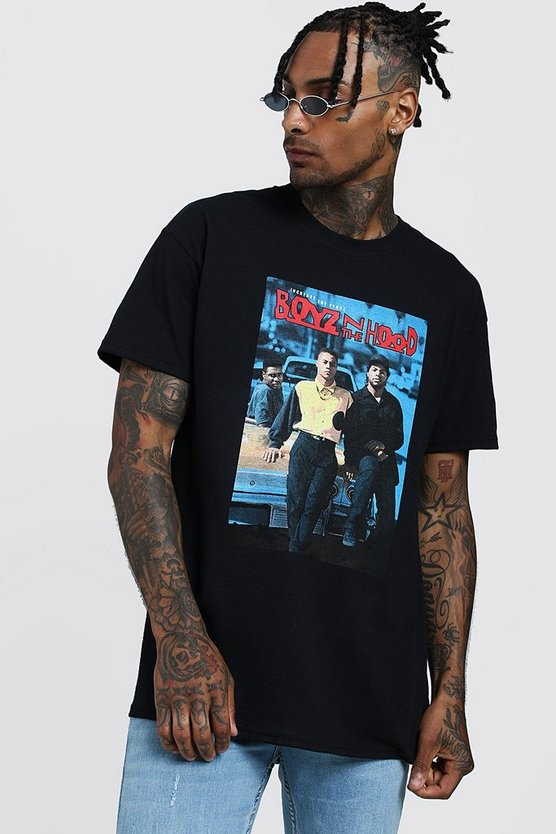 Mens Black Boyz In The Hood Oversized License T-Shirt