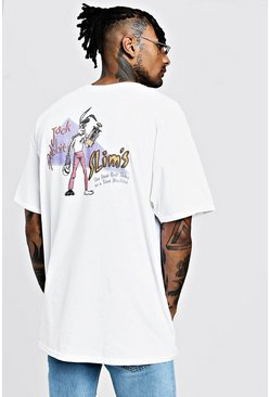 T-shirt Pulp Fiction Jack Rabbit Officiel, Blanc, Homme