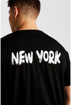 Mens Black Big & Tall Loose Fit T-Shirt With Back Print