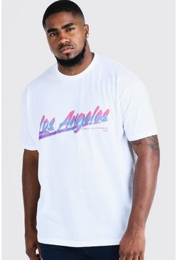 Mens White Big & Tall Loose Fit T-Shirt Los Angeles Print