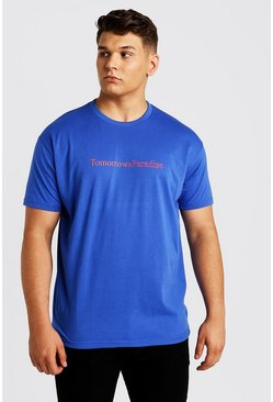 Mens Cobalt Big & Tall Loose Fit T-Shirt Paradise Back Print