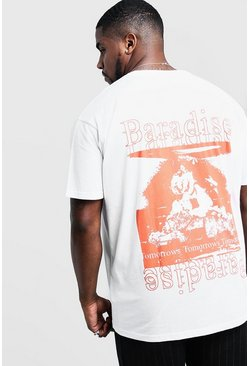 Mens White Big & Tall Loose Fit T-Shirt Paradise Back Print
