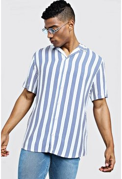 Mens White Viscose Stripe Short Sleeve Revere Shirt