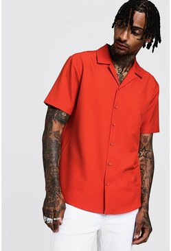 Mens Orange Relaxed Fit Revere Shirt In Short Sleeve
