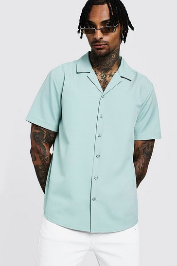 Mens Mint Smart Relaxed Fit Revere Shirt In Short Sleeve