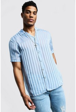Mens Pale blue Semi Sheer Stripe Short Sleeve Revere Shirt