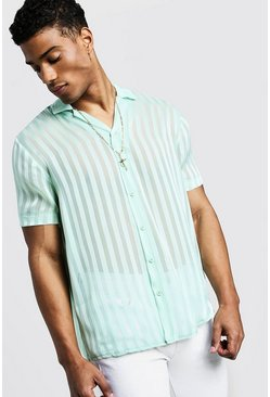 Mint Semi Sheer Stripe Short Sleeve Revere Shirt
