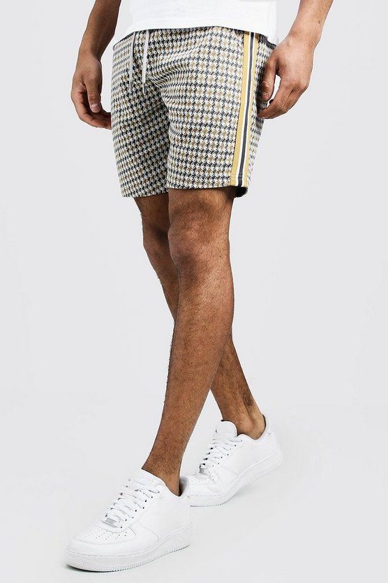 Grey Jacquard Tape Detail Mid Length Short