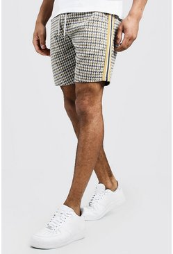 Mens Grey Jacquard Tape Detail Mid Length Short