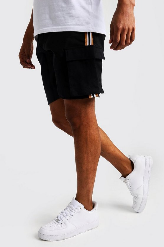 Black Drawstring Cargo Short With Side Tape