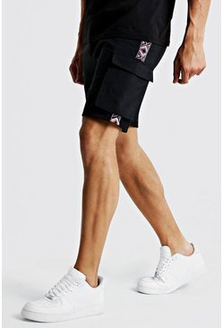 Mens Black Drawstring Cargo Short With Side Tape