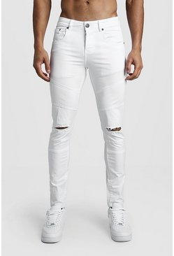 Mens White Skinny Fit Panelled Jeans