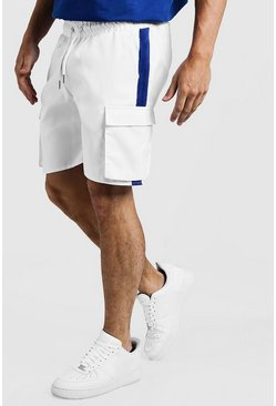 Mens White Drawstring Cargo Shorts With Side Tape