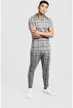Mens Grey Check Revere Collar Polo And Jogger Twin Set