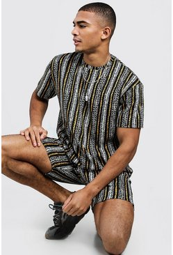 Mens Navy Jacquard Stripe T-Shirt And Short Set