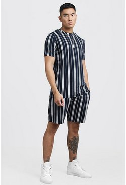 Mens Navy Stripe Jacquard T-Shirt & Short Set